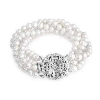 Bling Jewelry Four Strand Freshwater Cultured Pearl Bridal Bracelet Brass - White