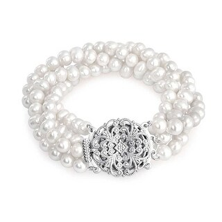 Bling Jewelry Four Strand Freshwater Cultured Pearl Bridal Bracelet Brass