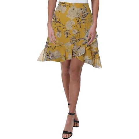 Lucy Paris Womens Wrap Skirt Floral Print Knee-Length