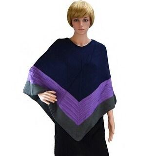 KK312 Knitted Pattern Poncho-Purple