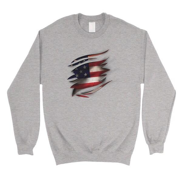 749534c7c0165 Shop American Flag Ripped Unisex Crewneck Sweatshirt 4th Of July ...