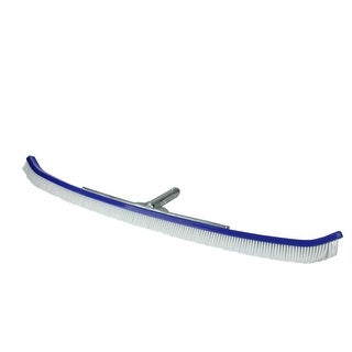 """35"""" Extra Wide Curved Aluminum-Back Commercial Swimming Pool Cleaning Brush - Blue"""