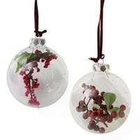 Set of 2 Clear Glass Christmas Ball Ornaments with Red and Burgundy Berries 3.5""