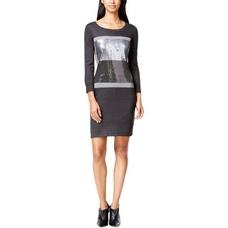 Calvin Klein Womens Petites Sweaterdress Sequined Long Sleeves