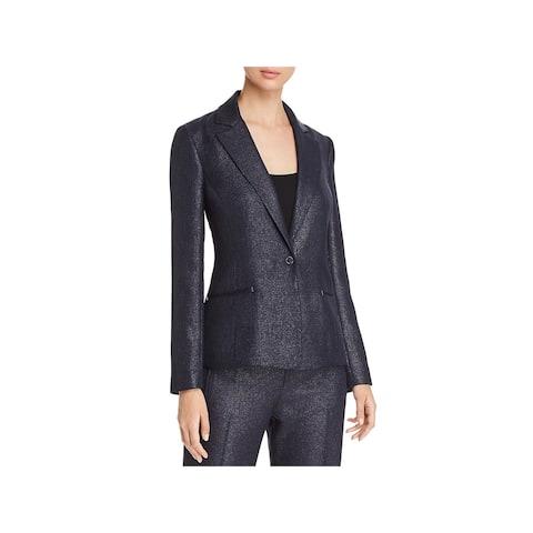 Elie Tahari Womens Monet One-Button Blazer Textured Metallic