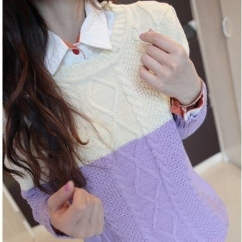 Fashion Color Block Sweater For Women