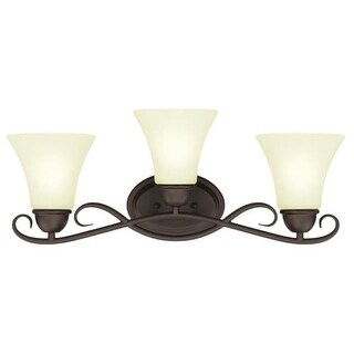 """Westinghouse 6306900 Dunmore 24"""" Wide 3 Light Bathroom Vanity Light with Frosted Glass Shades - Gold"""
