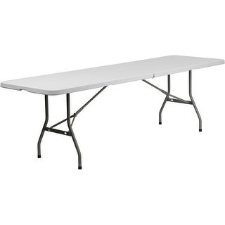Rivera 30''W x 96''L Bi-Fold Plastic Folding Table, Granite White, 660 lb Load