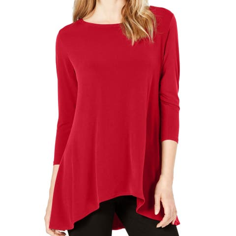 Alfani Womens Red Size XL Scoop Neck High-Low Hem Swing Stretch Blouse