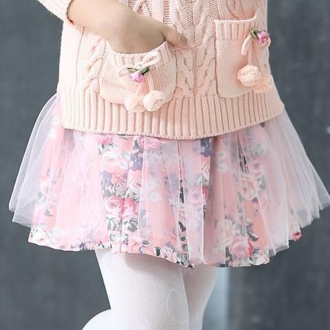 Child's Girls Fall Paragraph Floral Princess Dress in Autumn Gauze Skirt