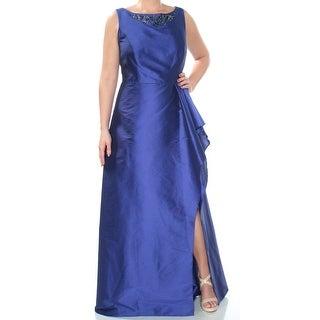 Womens Blue Ruffled Embellished Sleeveless Full-Length Sheath Formal Dress Size: 14W
