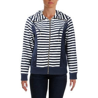 Calvin Klein Womens Velveteen Striped Hoodie