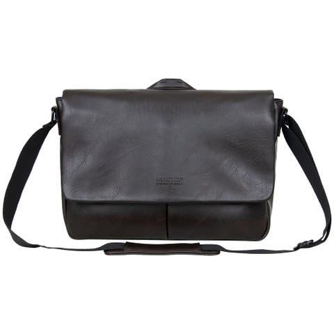Kenneth Cole Reaction Distressed Echo Vegan Leather Crossbody Laptop & Tablet Messenger Bag (Anti-Theft RFID)