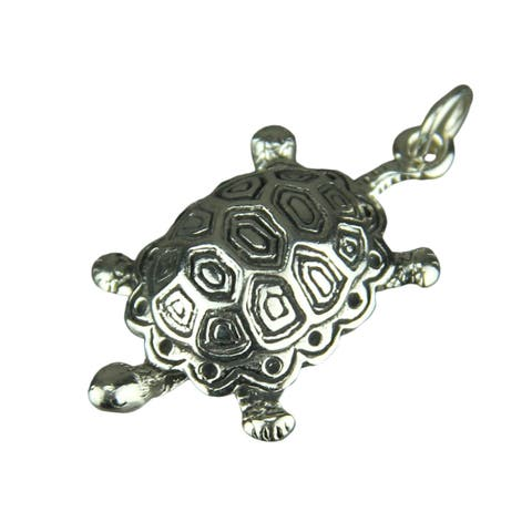 Sterling Silver 3D Turtle Charm / Pendant - 1 X 0.68 X 0.25 inches