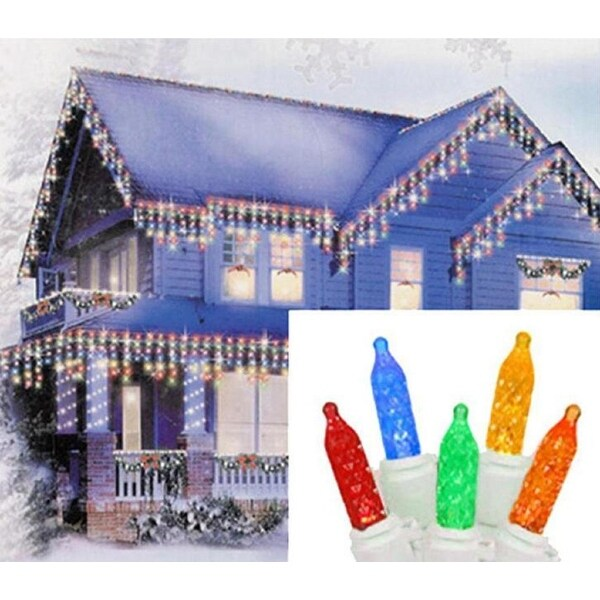 Set of 70 Multi-Color LED M5 Icicle Christmas Lights – White Wire - multi