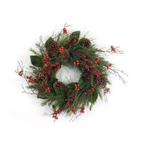 """Set of 2 Green and Red Artificial Pine Cone/Magnolia Leaf/Berry Wreath 28"""" - brown"""
