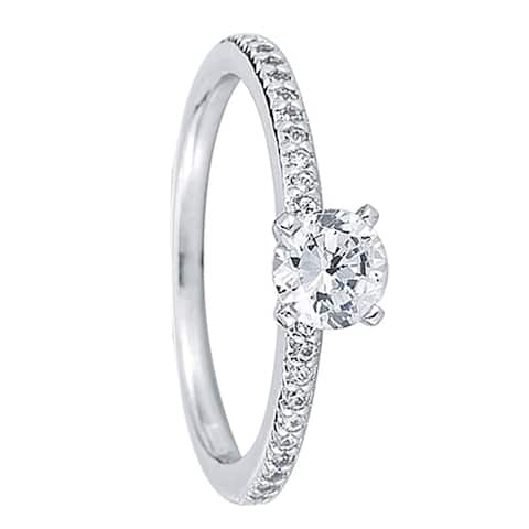 ELLE Petite Pavé Four Prong Solitaire Palladium Engagement Ring - MADE WITH SWAROVSKI® ELEMENTS