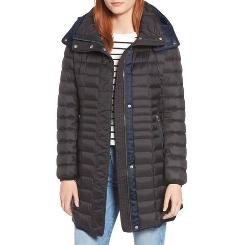 Andrew Marc Womens Down Jacket Black Blue Size XS Puffer Full Zip