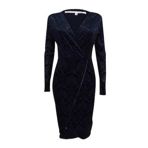 Rachel Rachel Roy Women's Velvet Burnout Faux-Wrap Dress - Black