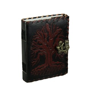 Brown and Black Tree of Life Embossed Leather Bound Journal w/ 240 Unlined Pages