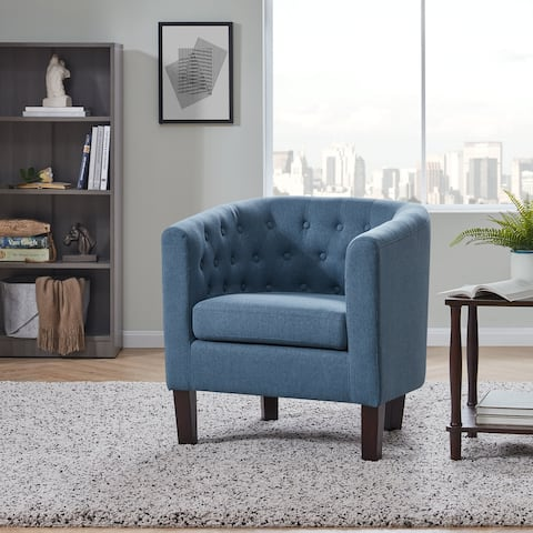 BELLEZE Upholstered Tufted Linen Club Chair Arm Chair, 11 Colors - standard