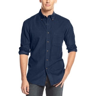 Club Room Button-Down Long Sleeve Corduroy Shirt Small S Shark Eye Blue