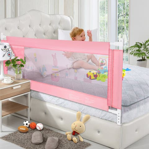 70in Extra Long Rail Vertical Lifting Safety Bedrail Assist Extra Long Mesh Guard Rails for Convertible Crib Kids - M