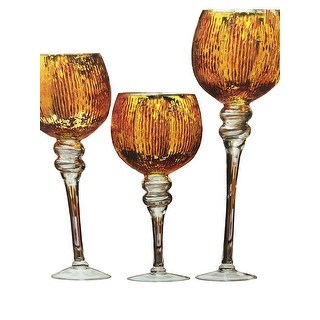 Palais Glassware Elegant Bougeoir Collection, Set of 3 Hurricane Candle Holders (Gold Textured)
