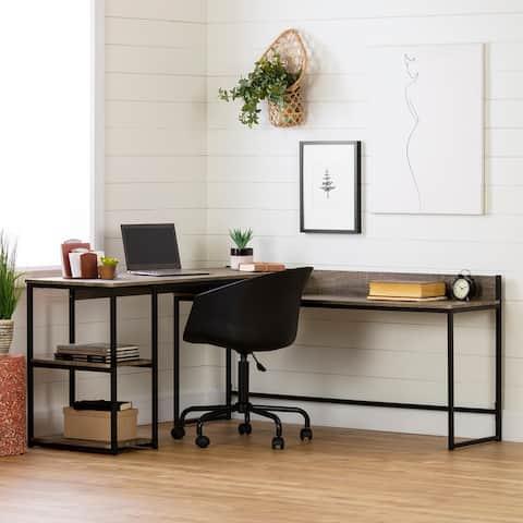 South Shore Evane L-Shaped Desk Ash Oak