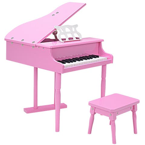 Costway Childs 30 key Toy Grand Baby Piano w/ Kids Bench Wood Pink New