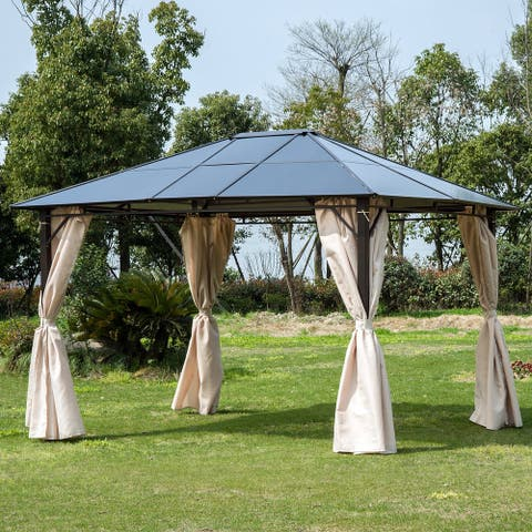 Outsunny 10' x 12' Steel Outdoor Steel Hardtop Party Gazebo Tent Canopy Cover with Removable Curtains - Dark Brown