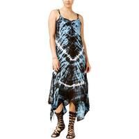 Raviya Womens Tie-Dye Handkerchief Hem Dress Swim Cover-Up