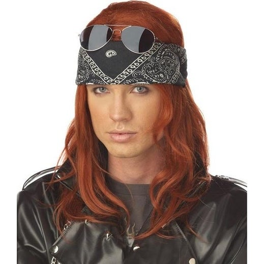Hollywood Rocker Costume Wig - Red