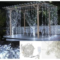 Image 16.4ft*2ft LED Curtain Icicle Lights String Connectable Christmas White