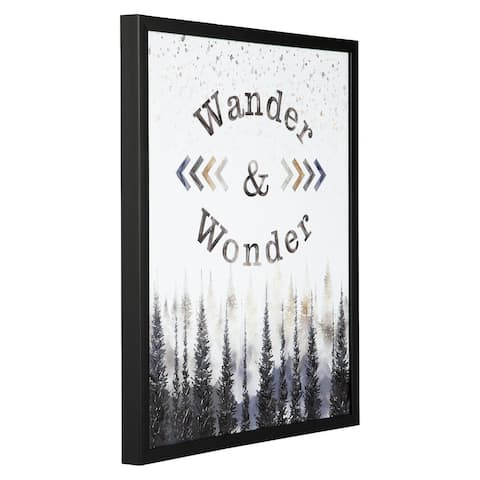 "Farryn Contemporary Gray/Brown ""Wander & Wonder"" Wall Art"