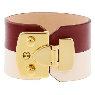 Stamerra BOSSA AVARIO Bordeaux/Cream Genuine Leather Cuff Bracelet