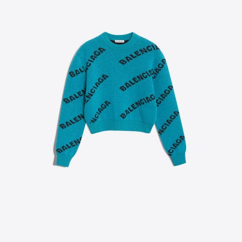 Balenciaga Jacquard Logo Crew Neck For Women, Turquoise/Black, 40