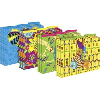 Barker Creek Letter-Size File Folders - Bohemian Animals , Multi-Design Set, Pack of 12