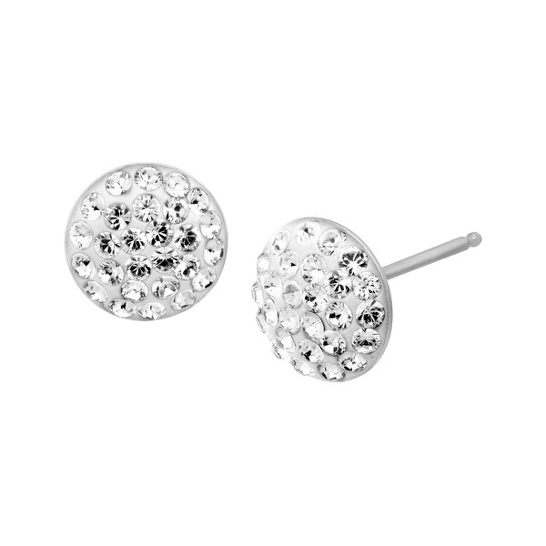 Crystaluxe Stud Earrings with Swarovski Crystals in Sterling Silver - White