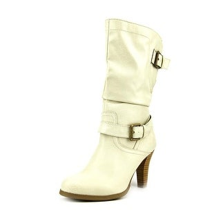 Style & Co Amorie Women Round Toe Synthetic Ivory Mid Calf Boot