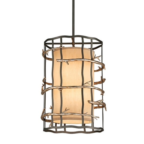 Adirondack 6-light Graphite and Silver Leaf Entry Pendant with Hardback Linen. Opens flyout.