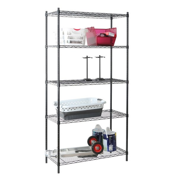 Image result for 5 Tier Wire Shelf - Black tidyliving
