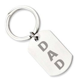 Stainless Steel Brushed Dad Key Ring