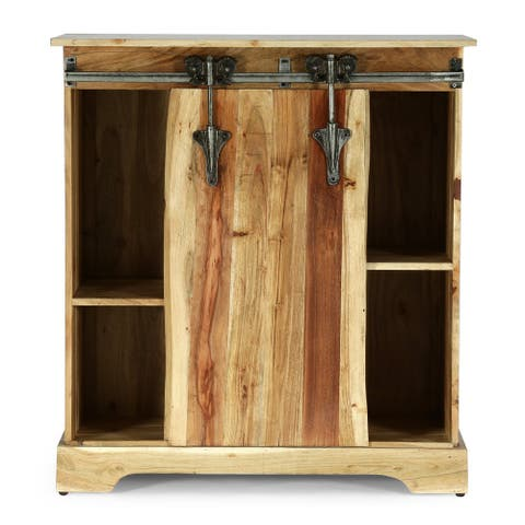 Laymon Modern Industrial Handcrafted Acacia Wood Live Edge Cabinet with Sliding Door by Christopher Knight Home