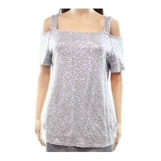 INC Women's Large Sequined Cold Shoulder Blouse