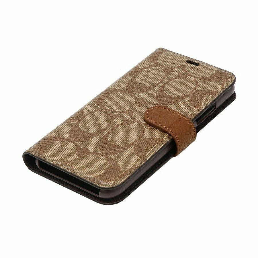 more photos 75816 10359 Coach Signature Canvas Phone Folio Case for iPhone XR, Khaki