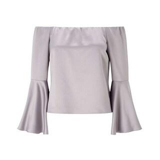 Miss Selfridge NEW Silver Womens Size 2 Off Shoulder Bell Sleeve Blouse