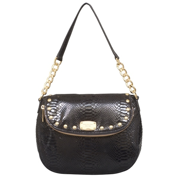 ef6c11216941 Shop Michael Kors Medium Bedford Stud Black Leather Convertible Shoulder Bag  - Free Shipping Today - Overstock - 22678744