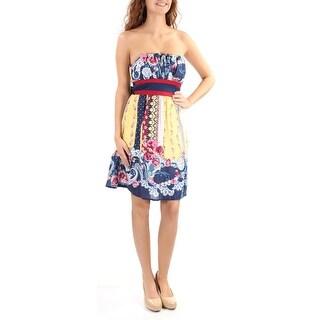 TEEZE ME Womens New 1233 Yellow Floral Tie Sleeveless Dress 3 Juniors B+B
