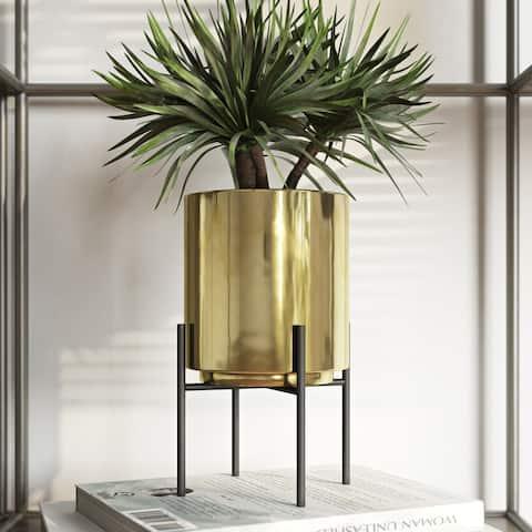 "Jodi Mid Century Table-top Planter - Gold - 7.5""H x 4.5""W x 4.5""D (Inside pot: 4.5""H x 3.75""W)"